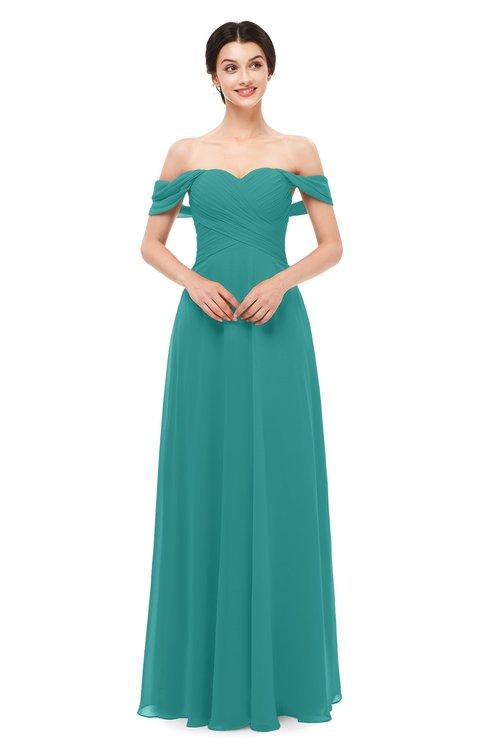 ColsBM Lydia Porcelain Bridesmaid Dresses Sweetheart A-line Floor Length Modern Ruching Short Sleeve