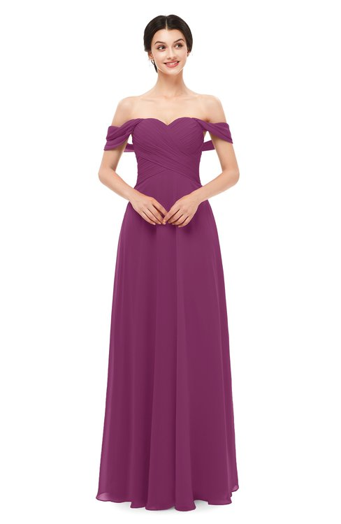 ColsBM Lydia Raspberry Bridesmaid Dresses Sweetheart A-line Floor Length Modern Ruching Short Sleeve