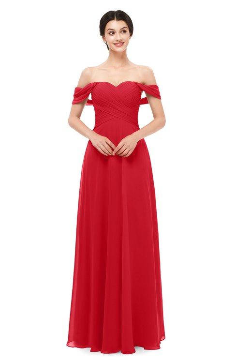 ColsBM Lydia Red Bridesmaid Dresses Sweetheart A-line Floor Length Modern Ruching Short Sleeve