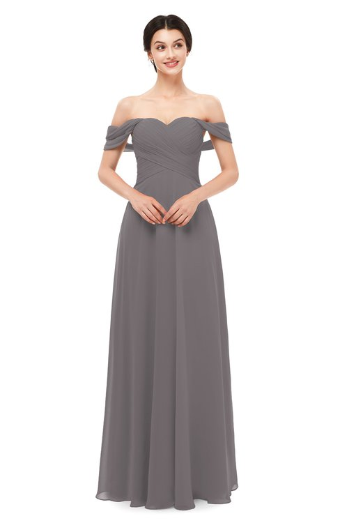 ColsBM Lydia Ridge Grey Bridesmaid Dresses Sweetheart A-line Floor Length Modern Ruching Short Sleeve