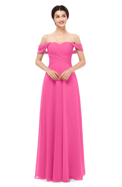 ColsBM Lydia Rose Pink Bridesmaid Dresses Sweetheart A-line Floor Length Modern Ruching Short Sleeve