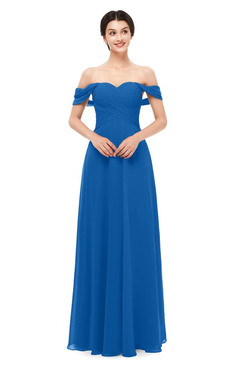 ColsBM Lydia Royal Blue Bridesmaid Dresses Sweetheart A-line Floor Length Modern Ruching Short Sleeve