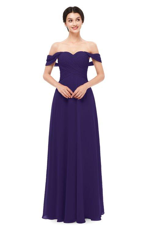 ColsBM Lydia Royal Purple Bridesmaid Dresses Sweetheart A-line Floor Length Modern Ruching Short Sleeve