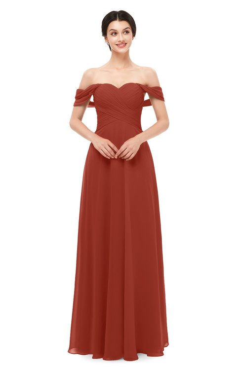 ColsBM Lydia Rust Bridesmaid Dresses Sweetheart A-line Floor Length Modern Ruching Short Sleeve