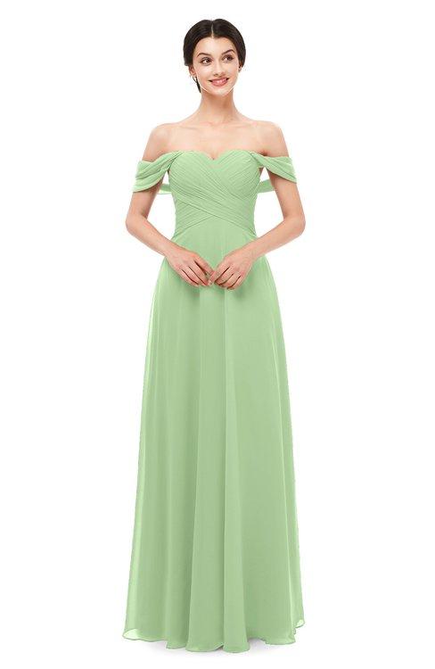 ColsBM Lydia Sage Green Bridesmaid Dresses Sweetheart A-line Floor Length Modern Ruching Short Sleeve
