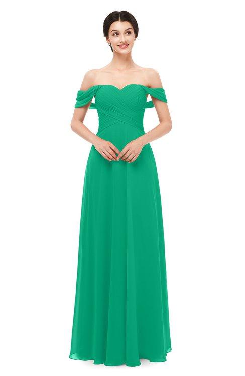 ColsBM Lydia Sea Green Bridesmaid Dresses Sweetheart A-line Floor Length Modern Ruching Short Sleeve