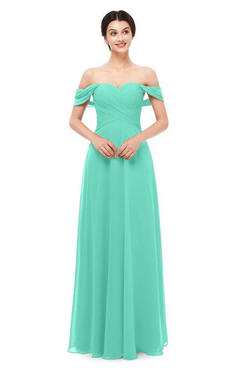 ColsBM Lydia Seafoam Green Bridesmaid Dresses Sweetheart A-line Floor Length Modern Ruching Short Sleeve