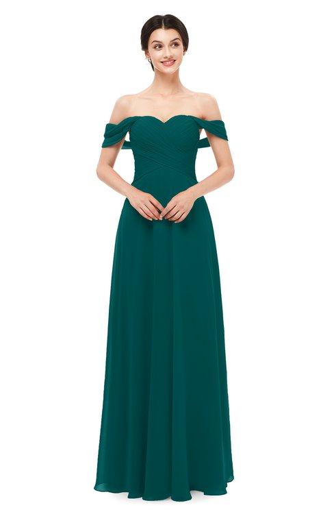 ColsBM Lydia Shaded Spruce Bridesmaid Dresses Sweetheart A-line Floor Length Modern Ruching Short Sleeve