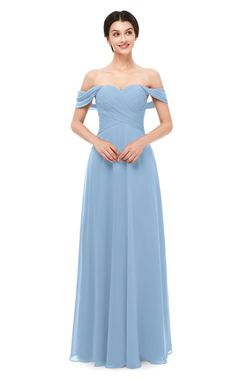 ColsBM Lydia Sky Blue Bridesmaid Dresses Sweetheart A-line Floor Length Modern Ruching Short Sleeve