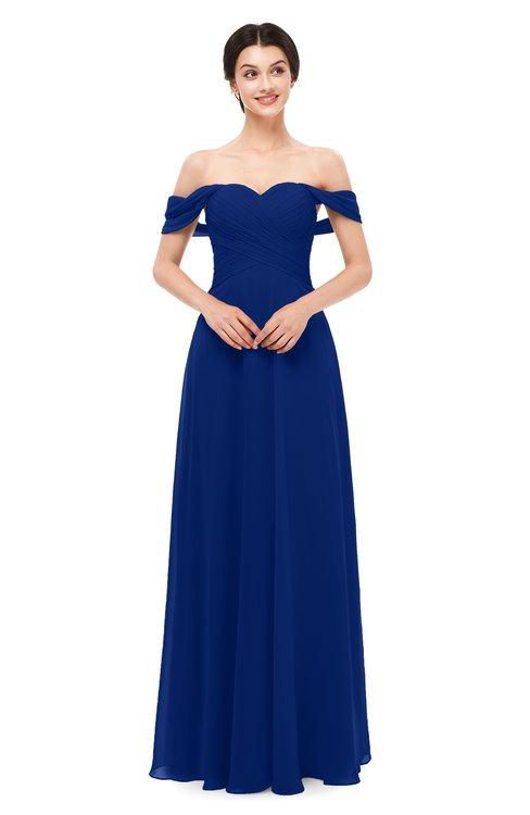 ColsBM Lydia Sodalite Blue Bridesmaid Dresses Sweetheart A-line Floor Length Modern Ruching Short Sleeve