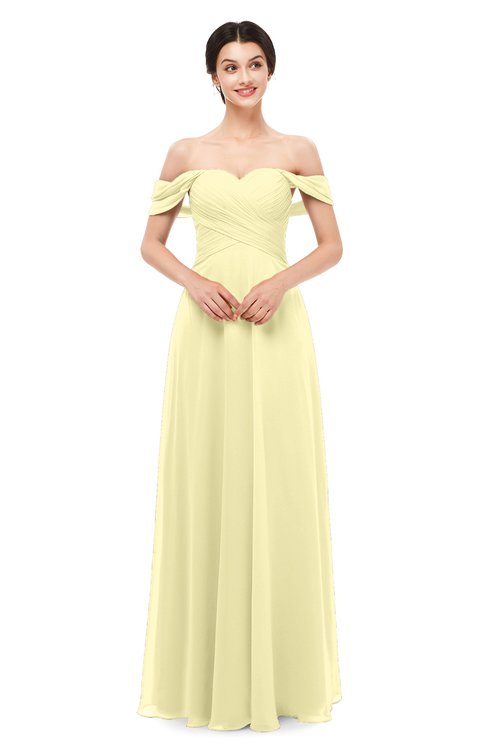 ColsBM Lydia Soft Yellow Bridesmaid Dresses Sweetheart A-line Floor Length Modern Ruching Short Sleeve