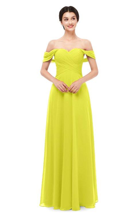 ColsBM Lydia Sulphur Spring Bridesmaid Dresses Sweetheart A-line Floor Length Modern Ruching Short Sleeve