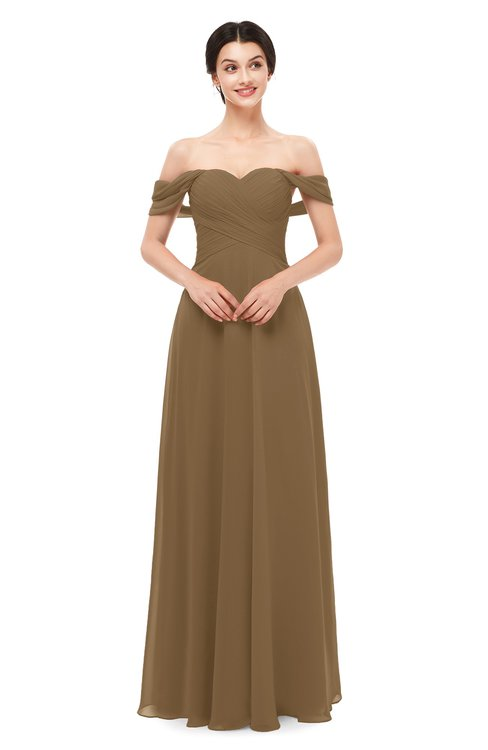 ColsBM Lydia Truffle Bridesmaid Dresses Sweetheart A-line Floor Length Modern Ruching Short Sleeve