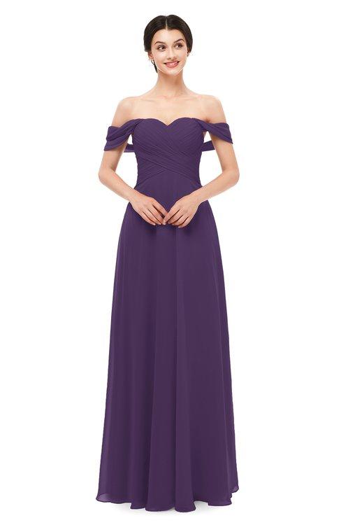 ColsBM Lydia Violet Bridesmaid Dresses Sweetheart A-line Floor Length Modern Ruching Short Sleeve