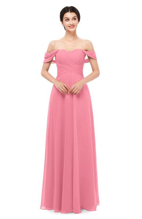ColsBM Lydia Watermelon Bridesmaid Dresses Sweetheart A-line Floor Length Modern Ruching Short Sleeve