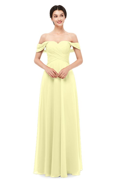 ColsBM Lydia Wax Yellow Bridesmaid Dresses Sweetheart A-line Floor Length Modern Ruching Short Sleeve