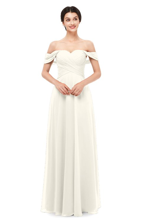 ColsBM Lydia Whisper White Bridesmaid Dresses Sweetheart A-line Floor Length Modern Ruching Short Sleeve