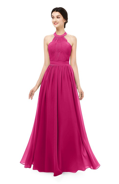 ColsBM Marley Beetroot Purple Bridesmaid Dresses Floor Length Illusion Sleeveless Ruching Romantic A-line