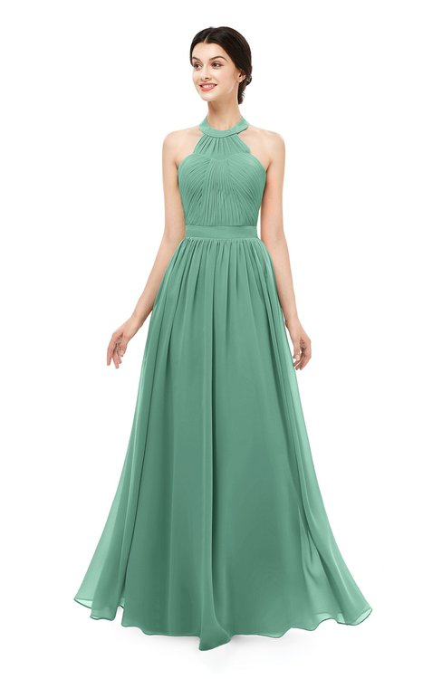 ColsBM Marley Beryl Green Bridesmaid Dresses Floor Length Illusion Sleeveless Ruching Romantic A-line