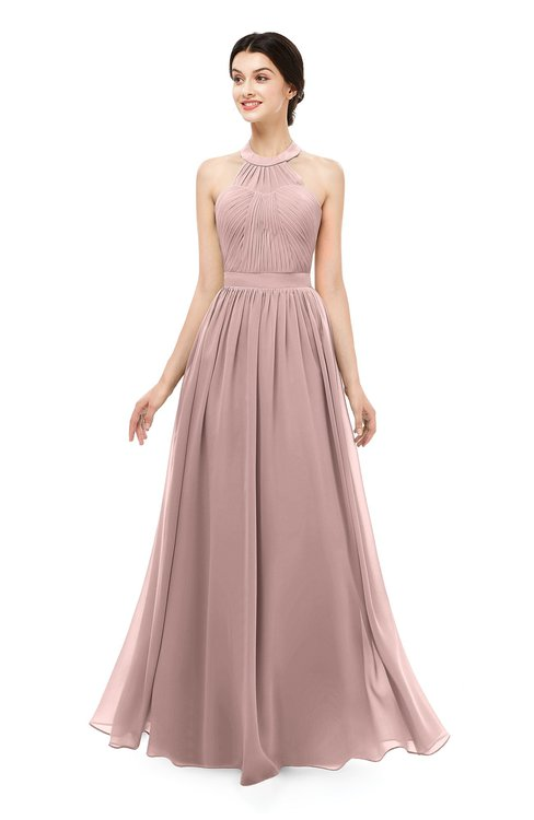 ColsBM Marley Blush Pink Bridesmaid Dresses Floor Length Illusion Sleeveless Ruching Romantic A-line