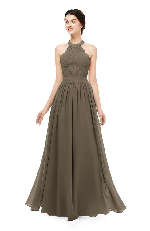 ColsBM Marley Carafe Brown Bridesmaid Dresses Floor Length Illusion Sleeveless Ruching Romantic A-line