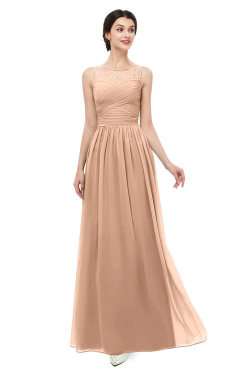 ColsBM Skyler Almost Apricot Bridesmaid Dresses Sheer A-line Sleeveless Classic Ruching Zipper