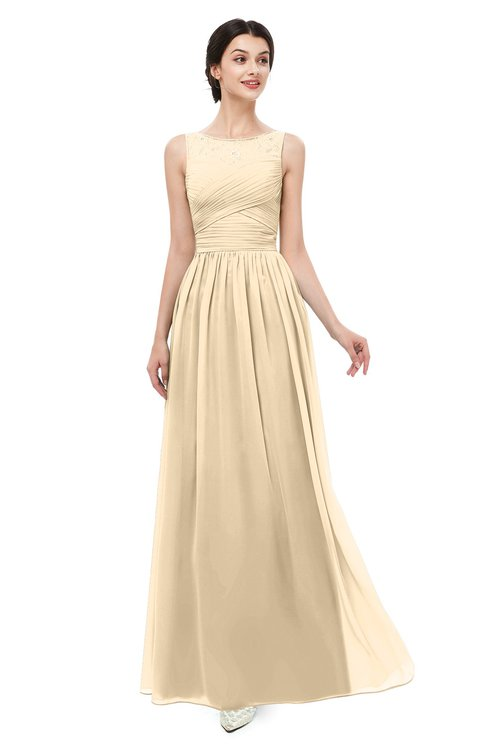 ColsBM Skyler Apricot Gelato Bridesmaid Dresses Sheer A-line Sleeveless Classic Ruching Zipper