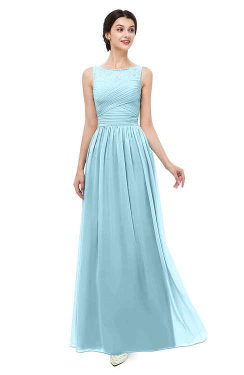 ColsBM Skyler Aqua Bridesmaid Dresses Sheer A-line Sleeveless Classic Ruching Zipper
