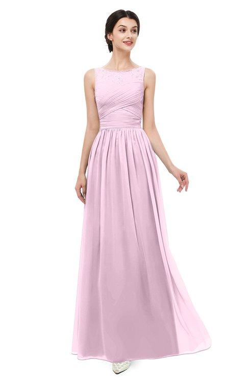 ColsBM Skyler Baby Pink Bridesmaid Dresses Sheer A-line Sleeveless Classic Ruching Zipper