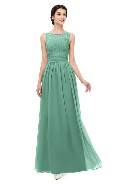 ColsBM Skyler Beryl Green Bridesmaid Dresses Sheer A-line Sleeveless Classic Ruching Zipper