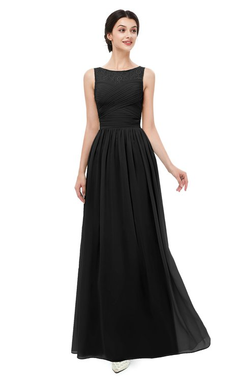 ColsBM Skyler Black Bridesmaid Dresses Sheer A-line Sleeveless Classic Ruching Zipper