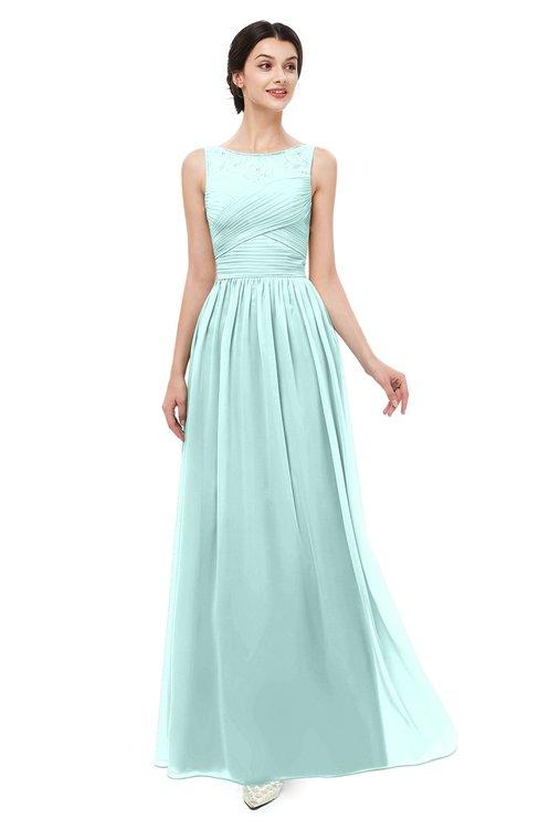 ColsBM Skyler Blue Glass Bridesmaid Dresses Sheer A-line Sleeveless Classic Ruching Zipper