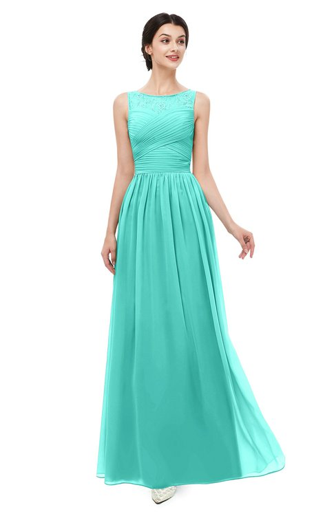 ColsBM Skyler Blue Turquoise Bridesmaid Dresses Sheer A-line Sleeveless Classic Ruching Zipper