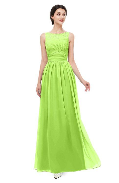 ColsBM Skyler Bright Green Bridesmaid Dresses Sheer A-line Sleeveless Classic Ruching Zipper