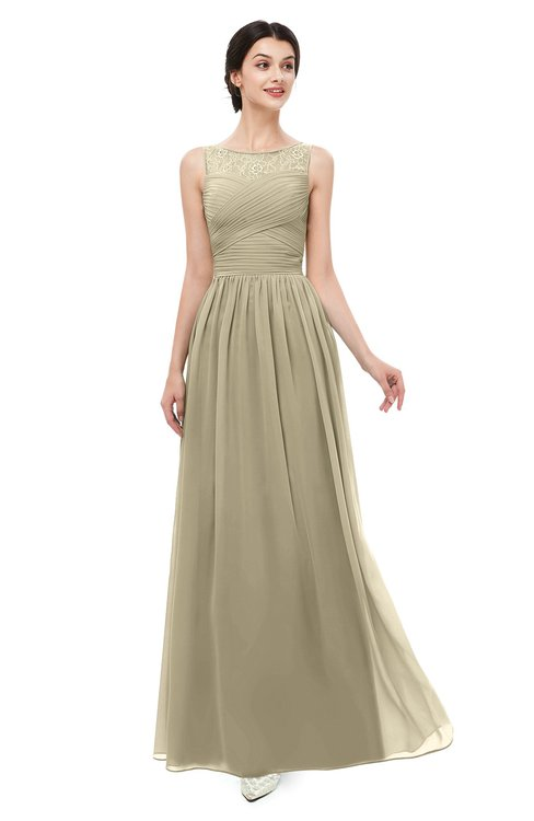 ColsBM Skyler Candied Ginger Bridesmaid Dresses Sheer A-line Sleeveless Classic Ruching Zipper