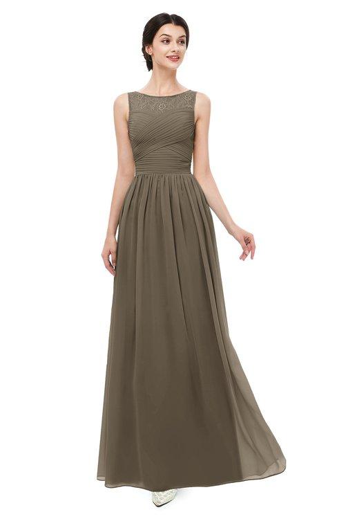 ColsBM Skyler Carafe Brown Bridesmaid Dresses Sheer A-line Sleeveless Classic Ruching Zipper