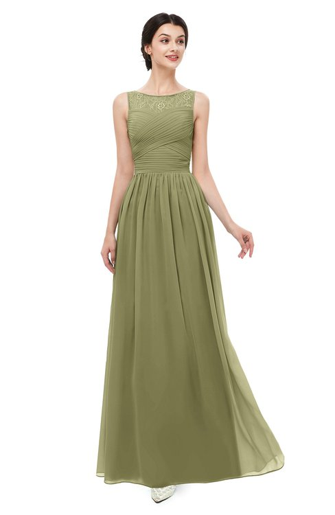 ColsBM Skyler Cedar Bridesmaid Dresses Sheer A-line Sleeveless Classic Ruching Zipper