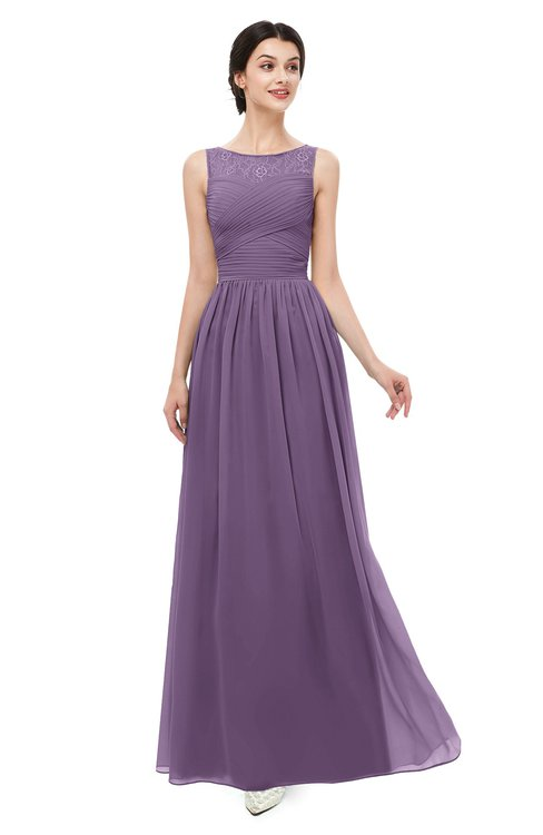 ColsBM Skyler Chinese Violet Bridesmaid Dresses Sheer A-line Sleeveless Classic Ruching Zipper
