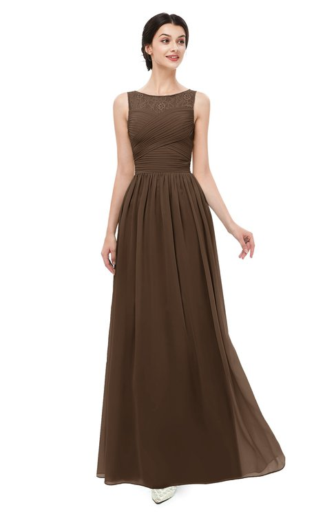 ColsBM Skyler Chocolate Brown Bridesmaid Dresses Sheer A-line Sleeveless Classic Ruching Zipper