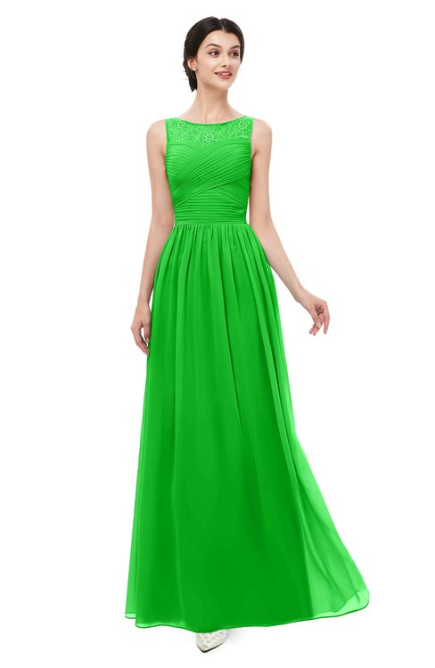 ColsBM Skyler Classic Green Bridesmaid Dresses Sheer A-line Sleeveless Classic Ruching Zipper