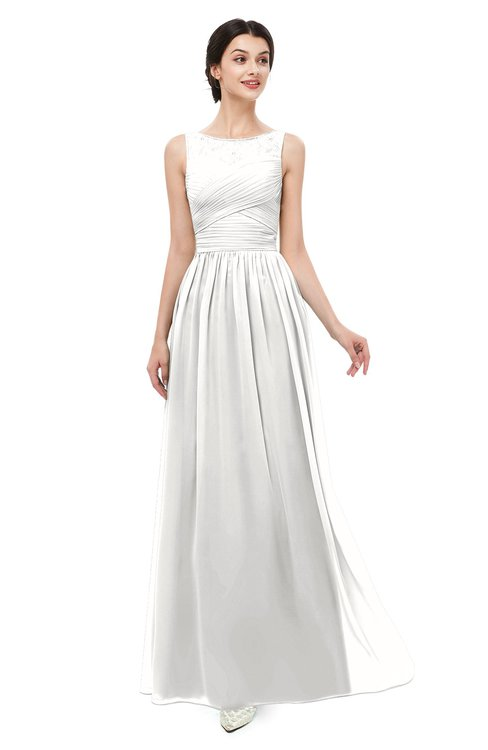 ColsBM Skyler Cloud White Bridesmaid Dresses Sheer A-line Sleeveless Classic Ruching Zipper