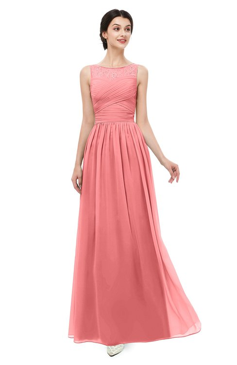 ColsBM Skyler Coral Bridesmaid Dresses Sheer A-line Sleeveless Classic Ruching Zipper