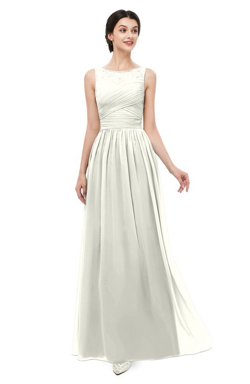 ColsBM Skyler Cream Bridesmaid Dresses Sheer A-line Sleeveless Classic Ruching Zipper
