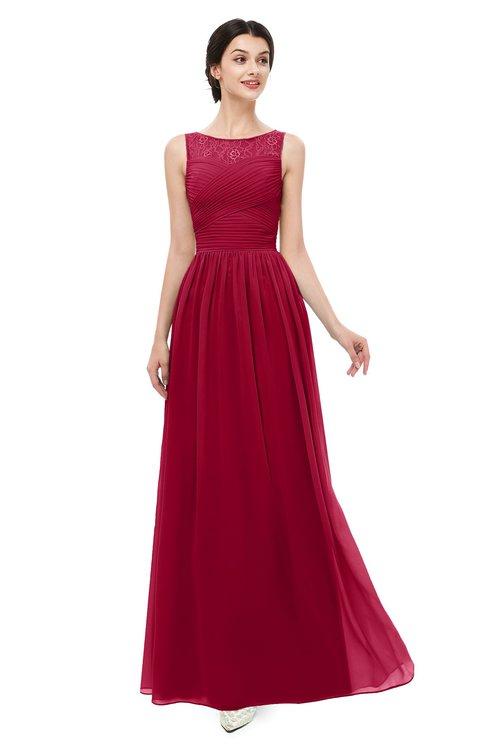 ColsBM Skyler Dark Red Bridesmaid Dresses Sheer A-line Sleeveless Classic Ruching Zipper
