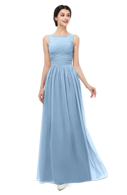 ColsBM Skyler Dusty Blue Bridesmaid Dresses Sheer A-line Sleeveless Classic Ruching Zipper