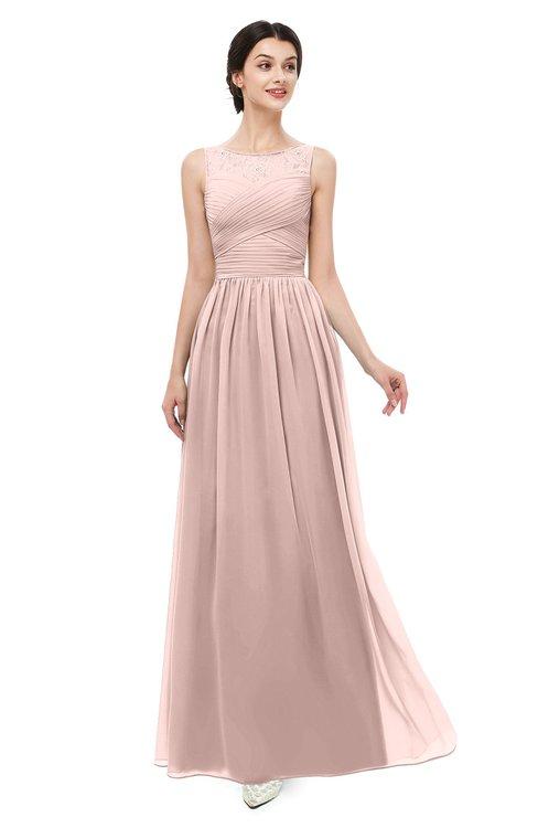 ColsBM Skyler Dusty Rose Bridesmaid Dresses Sheer A-line Sleeveless Classic Ruching Zipper