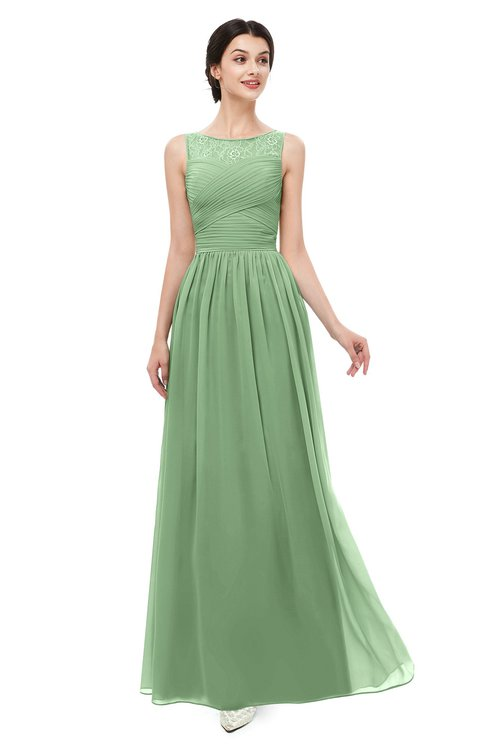 ColsBM Skyler Fair Green Bridesmaid Dresses Sheer A-line Sleeveless Classic Ruching Zipper