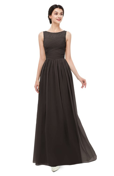 ColsBM Skyler Fudge Brown Bridesmaid Dresses Sheer A-line Sleeveless Classic Ruching Zipper
