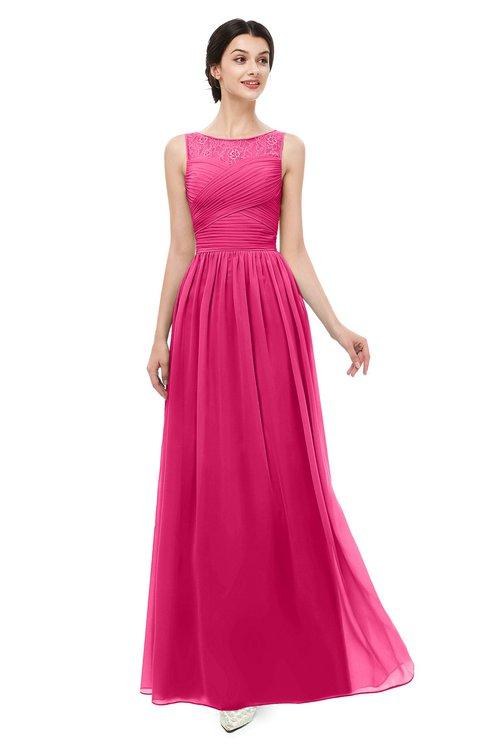 ColsBM Skyler Fuschia Bridesmaid Dresses Sheer A-line Sleeveless Classic Ruching Zipper