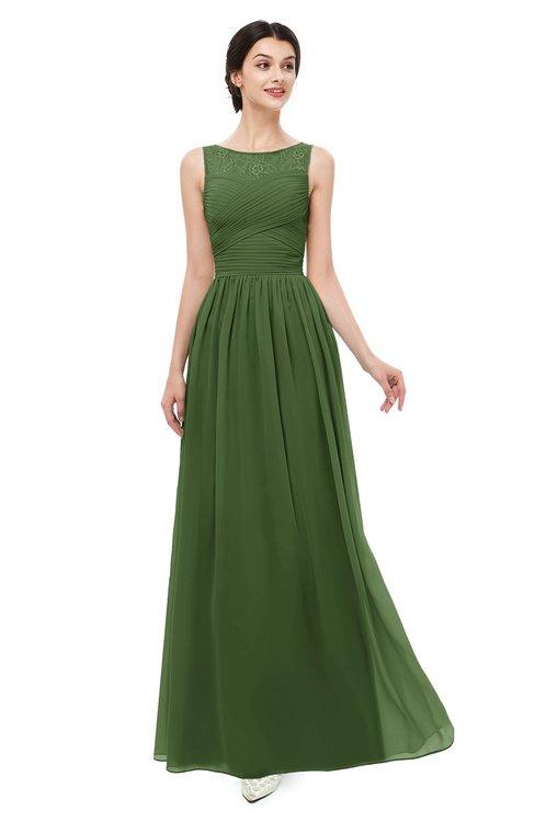 ColsBM Skyler Garden Green Bridesmaid Dresses Sheer A-line Sleeveless Classic Ruching Zipper